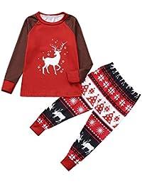 Zolimx 3PCS Christmas Toddler Baby Cartoon Deer Print Romper+Pants+Hat Family Clothes Cartoon-Elch-Print-Bademantel + Hose + Mütze dreiteilige Eltern-Kind-Kleidung