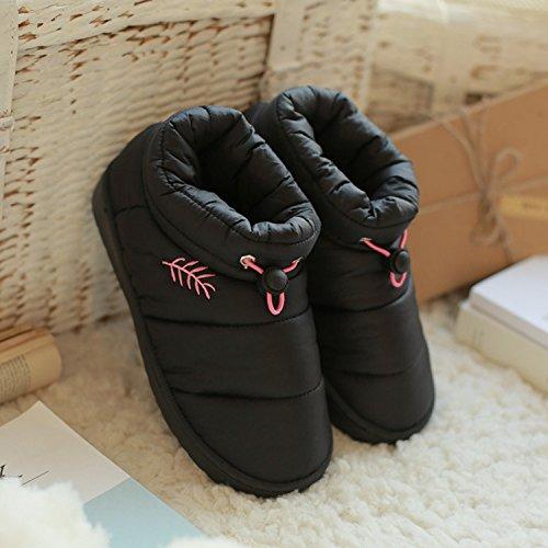 DogHaccd pantofole,In autunno e in inverno le coppie parenting, pantofole per uso domestico e acqua all'anti-slittamento pantofole di cotone pantofole caldi Nero4