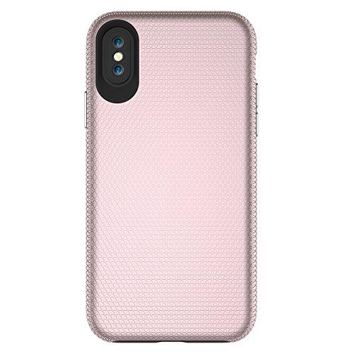 iPhone X Hülle, Voguecase TPU + PC 2 in 1 Silikon Schutzhülle / Case / Cover / Hülle / TPU Gel Skin für Apple iPhone X(Rutschfest/Schwarz) + Gratis Universal Eingabestift Rutschfest/Rose Gold