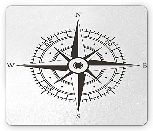 Kompass Maus Pad, Wind Rose Old Fashioned Navigations Geräte Orientierungslauf Illustration Print, Standard Größe Rechteck rutschfeste Gummi Mauspad, Grau Weiß