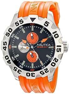 NAUTICA - N15565G - Analogique - Montre Homme - Bracelet en polyuréthanne orange