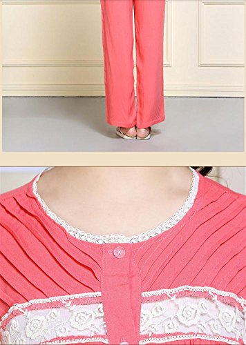 DMMSS Ladies Pyjama Blanc Ensemble De Printemps Et D'Automne À Long - Peignoirs En Dentelle À Manches 2 - Pièce Ensembles De Costumes Élégants De Services À Domicile watermelon red