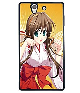 Fuson Feather Girl Back Case Cover for SONY XPERIA Z - D3763