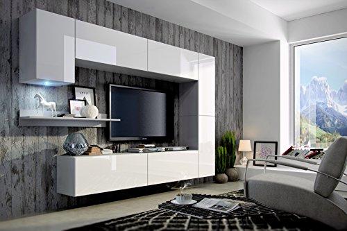 FUTURE 6 Moderne Wohnwand, Exklusive Mediamöbel, TV-Schrank, Neue Garnitur, Große Farbauswahl (RGB LED-Beleuchtung Verfügbar) (Weiß MAT base / Weiß HG front, Blau LED)