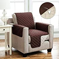 Tivedointv Exclusive and Soft Quilted Armchair Cover - Universal Armrest Can Also be Fitted on Reclining Armchairs Double Face Reversible Colour Brown and Cream White