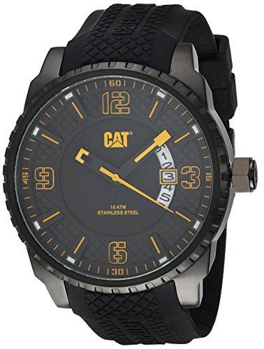 Cat mossville multifunción Hombre Reloj analógico negro con amarillo ac16921127
