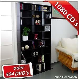 CD DVD Regal 102x23x180cm schwarz bis 1080CDs Regalwand Wandregal