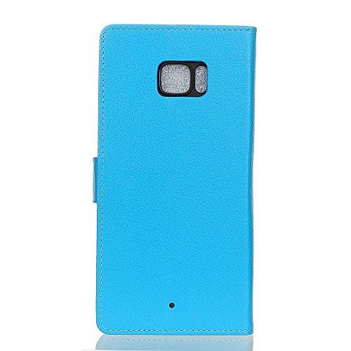 Klassische Litchi Texture PU Leder Schutzhülle Horizontale Folio Flip Stand Case Cover mit Kartensteckplätzen für HTC U ULTRA ( Color : Blue ) Blue