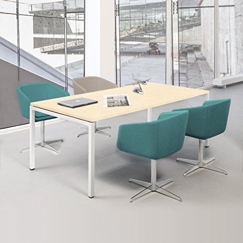 NOVA Besprechungstisch 180x80cm Ahorn 4-6 Pers. Konferenztisch Meetingtisch , Gestellfarbe:Weiß