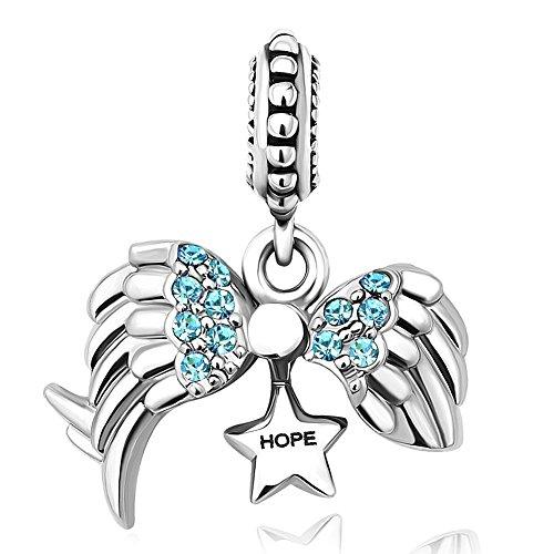 """Uniqueen ciondolo per braccialetti, con ali di angelo e scritta """"hope"""" in inglese e rame, colore: blue, cod. uq_dpc_my887_x03"""