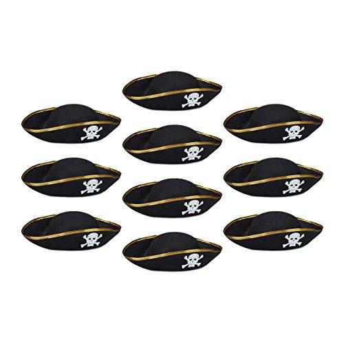 10x Piratenhut schwarz im Set, Dreispitz, mit Totenkopf, Kopfbedeckung für Fasching oder Karneval, Einheitsgröße, black
