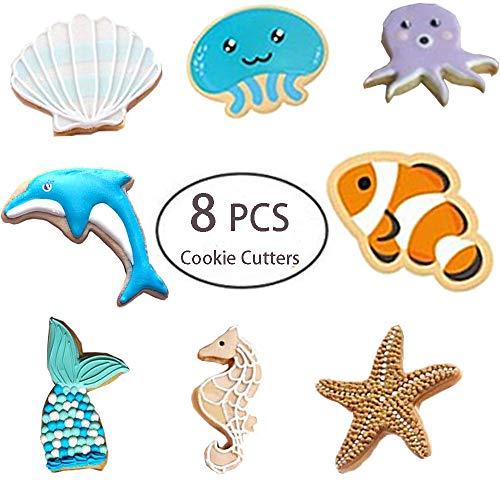 Sea Life Ausstechformen Set - 8 Stück Ausstechformen Meerjungfrau/Walschwanz, Delfin, Oktopus, Quallen, Clownfisch, Seepferdchen, Seestern und Muschel Seestern in Tierform Keks Fondant Ausstechformen
