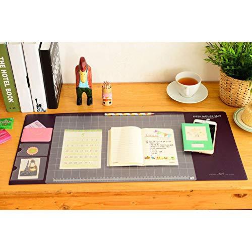 Multifunktions-Schreibtischunterlage, ultradünn, wasserfest, mit Taschen, transparenter PVC-Abdeckung, Schreibunterlage für Zuhause/Büro/Kinder/Mädchen braun