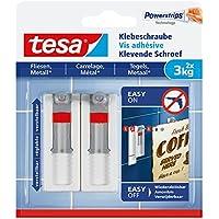 Tesa 77765–00000–00–Tornillo (Adhesiva para Azulejos y Metal, Ajustable, 3kg Potencia de sujeción, 2Unidades)