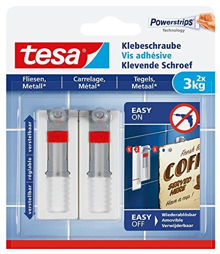 Tesa Klebeschraube für Fliesen und Metall (verstellbar, 3 kg)