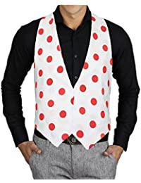 Adults White & Red PolkaDot Red Spot Backless Fancy Dress Waistcoat