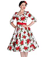 Tiger Milly - Hell Bunny 50er Jahre Vintage Kleid Weiß mit Blumenmuster