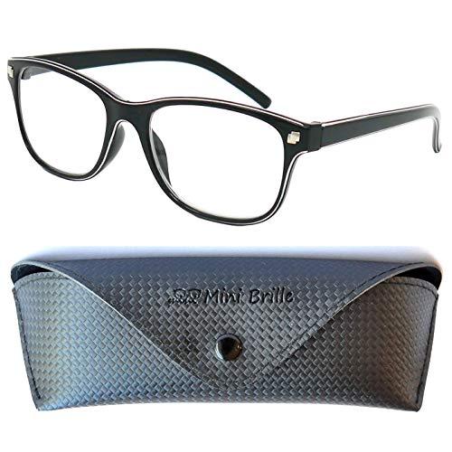 Line Nerd Lesebrille mit großen Gläsern - mit GRATIS Etui und Brillenputztuch | Kunststoff Rahmen (Schwarz) | Lesehilfe für Damen und Herren | +1.0 Dioptrien