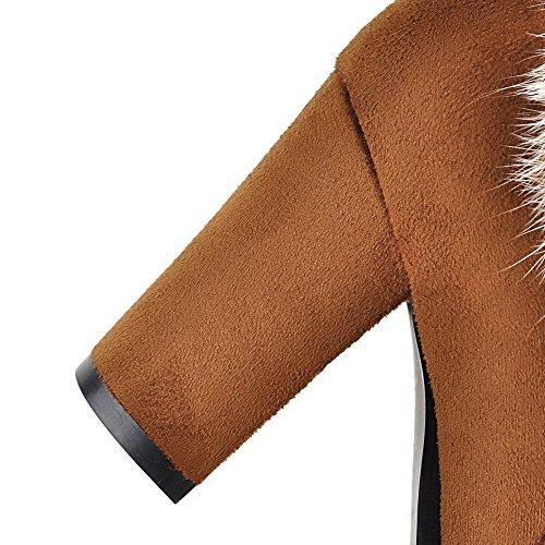 VogueZone009 Donna Bassa Altezza Puro Cerniera Scarpe A Punta Tacco Alto Stivali con Metallo Marrone