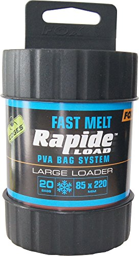 Fox Edges Rapide System Fast melt - Befüller + PVA Beutel zum Karpfenangeln, Wasserlösliche Taschen zum Anfüttern von Karpfen, Größe/Packungsinhalt:85x220mm - 20 Stück - Wasserlösliche Beutel