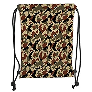 Trsdshorts Camouflage,Pixel Art Style Military Blending in Environment Pattern Abstract Fashion Decorative,Brown Black Sepia Soft Satin,5 Liter Capacity,Adjustable S