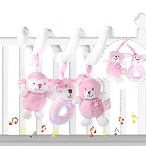 Preisvergleich Produktbild LINAG Baby Mobiles Babybett Cute Musik Suspension Plüsch Aktivität Kinderbett Aufhängen Sleeping Soft Toys Spiralwickel Baby Krippe Mobile Bett Kinderwagen Hängebett Geburtstagsgeschenk Tuch Krippenbett , pink