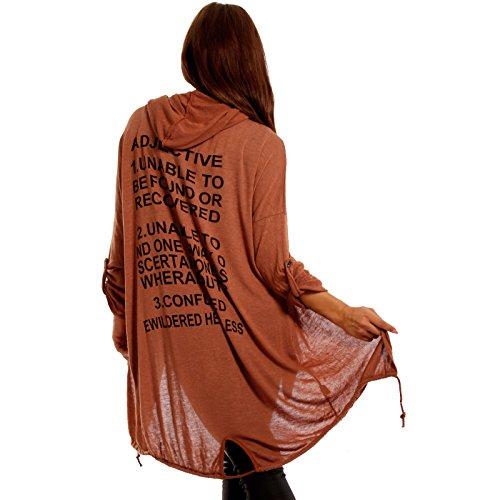 Damen Casual Cardigan mit Kapuze Loose-Fit Schriftzug am Rücken Kupfer