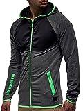 LEIF NELSON Herren Sweat-Jacke Kapuzen-Jacke | Fitness-Sweatshirt für Männer | Gym-wear Zip-Hoodie Kleidung Männer