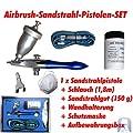 Agora-Tec® Airbrush Pistole Eraser Gun AT-AEG-01 - Sandstrahl - Airbrush-Pistolen-Set inkl. Schlauch, 150g Sandstrahlgut, Staubmaske und Wandhalterung