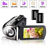 Videocamera,iBosi Cheng Videocamera Digitale Full HD 1080P, 24MP, Zoom Camcorder Digitale 16x,Photocamera per Visione Notturna a Infrarossi con Telecamera Rotante a 270 °