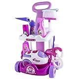 deAO Carrito de limpieza para el hogar, incluye accesorios y aspiradora de juguetes con sonidos y luces