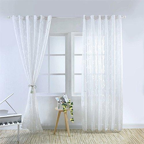 Ocamo 1LUXUS Fashion jacquard Leaf-Vorhang Tuch für Home Hotel Dekoration, weiß, 100X200CM rod Pocket - Pocket 200 Hat