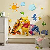 #1: Jaamso Royals ' Winnie the Pooh Wall Sticker Home Decor Cartoon ' Wall Sticker (PVC Vinyl, 70 cm X 50 cm, Decorative Stickers)