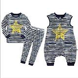 HB.YE Baby Schlafanzug Kinder Schlafsack mit Füßen Baumwolle Strampler Jungen Mädchen unisex warm Winter Cartoon (3-Stück - Sterne, M)