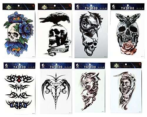 GGSELL GGSELL Tattoo 8pcs mischt Halloween temporäre Tätowierungen in einem Paket, einschließlich schreckliche Schädel, Totem, Schädel mit Rose und Schädel mit Pfingstrose - Leicht Hand Von Halloween-make-up