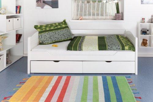 """Einzelbett / Stauraumbett """"Easy Möbel"""" K1/s Voll inkl 2 Schubladen und 2 Abdeckblenden, 90 x 200 cm Buche Vollholz weiß lackiert"""