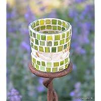 Handgefertigtes Windlicht Moosgrün 7 cm hoch