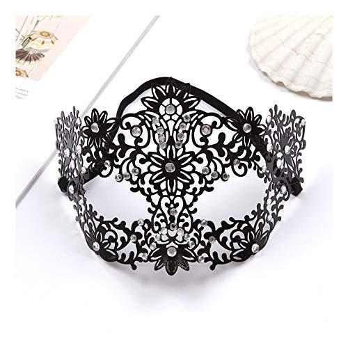 SCLMJ Damen-Mode-Halbe Gesichtsmaske Metall Ausgehöhlte Diamant-Maske Für Halloween-Maskerade, Schwarz