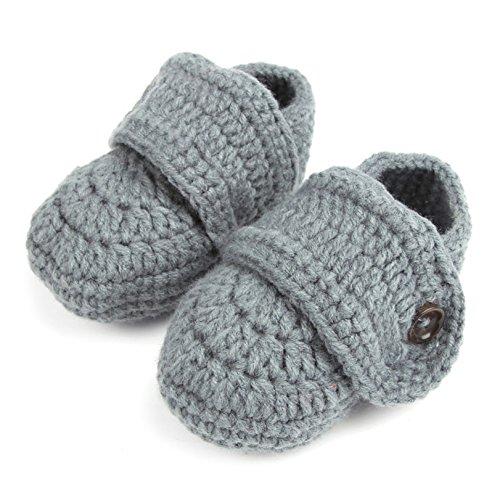 1 par de bebés lindos niños pequeños bebé ganchillo suave tejer zapatos de cuna caminar calcetines...