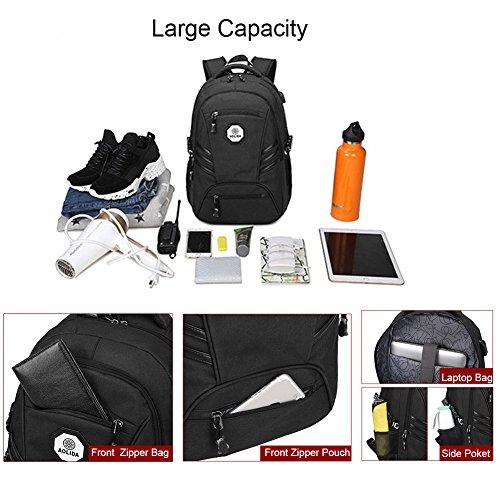 Yoome Anti-furto Laptop Zaino Borse da lavoro con porta USB di ricarica Resistente allacqua Bookbag scuola per zaino da viaggio College per laptop da 15.6 pollici e Notebook - Blu Grigio