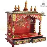 Kamdhenu art and craft Wooden Home Temple (Red)