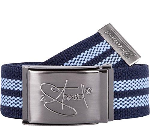 2Stoned Tresor-Gürtel Geldgürtel Navy-Sky 4 cm breit, Matte Schnalle Geprägt, Gürtel für Damen und Herren