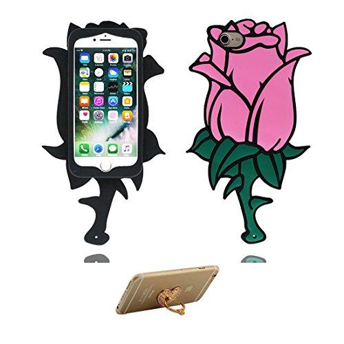 iPhone 7 Plus Custodia, Fashion TPU morbido Cover Shell per iPhone 7 Plus Copertura / 3D Rosa blu / iPhone 7 Plus Case 5.5 Anti shock Durable & ring supporto rosa