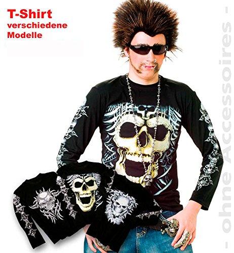 Fries 28080 Shirt Heavy Metal mit Druck sortiert Herren Fasching Karneval Kostüm: Größe: M