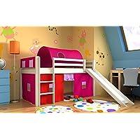 Preisvergleich für Kinderbett bett mit rutsche,vorhange,tunnel,matratze, weiss,Spielbett,hochbett, (Geweisst)