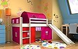 Kinderbett bett mit rutsche,vorhange,tunnel,matratze, weiss,Spielbett,hochbett, (Geweisst)