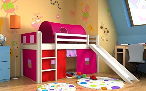 rutsche,vorhange,tunnel,matratze, weiss,Spielbett,hochbett, (Geweisst) (Jungen Hochbett Mit Rutsche)