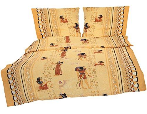 2-teilige Seersucker Bettwäsche 135x200cm und 80x80cm - Afrika Ägypten Mumie - Bettgarnitur aus 100% Baumwolle, bügelfrei (S-142/1)