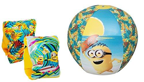 2 Teile Bade – Urlaub - Set - Minions Despicable me - Schwimmflügel und Wasserbal / Beachball / Strandball- aufblasbar - - Schwimmärmel & Schwimmhilfe - passend für 3 bis 6 Jahre Mädchen & Jungen - Strandspielzeug - Badespielzeug - Schwimmlernhilfe - Schwimmartikel / Wasserspielzeug – Kleinkinder