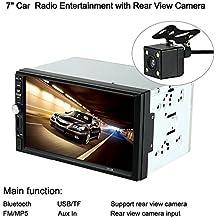 "KKmoon 7"" Reproductor Multimedia MP5 2 Din HD 1080P Bluetooth Radio Entretenimiento USB/TF Ranura Aux Entrada con Cámara de Visión Trasera para Coche"
